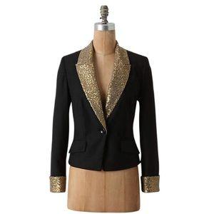 Anthropologie Gold Sequined collar & cuff blazer